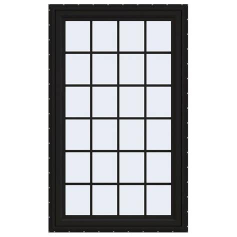 jeld wen        series bay vinyl window black thdjw  home depot