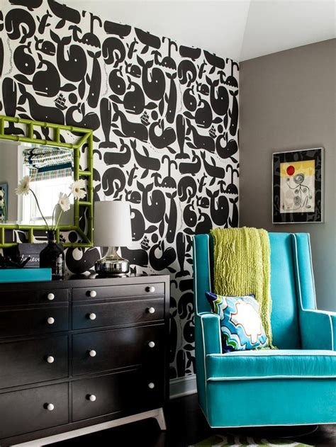 taupe walls  bright blue glider  lime green accents
