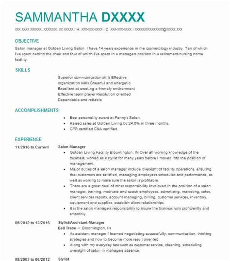 Salon Resume by Salon Manager Resume Sle Manager Resumes Livecareer