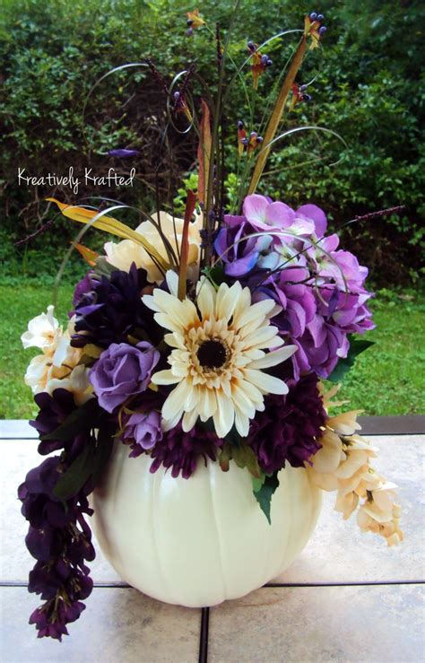 White Pumpkin Filled With Plum Purple And Cream Colored