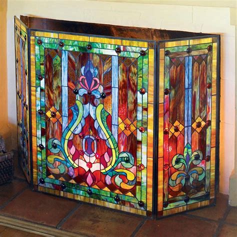stained glass fireplace screen style stained glass fleur de lis decorative three