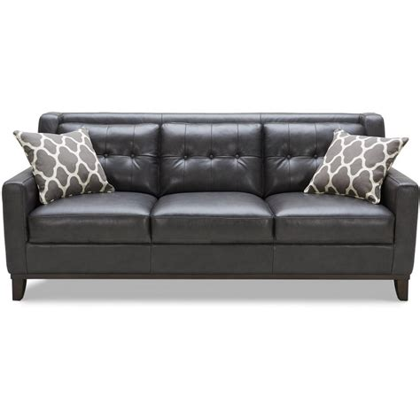 tufted loveseat gray nigel 80 quot charcoal leather sofa