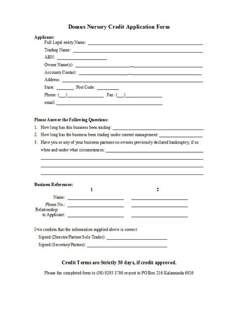 credit application form templates samples