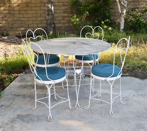 white outdoor wrought iron patio furniture vtg white mid century wrought iron table chairs