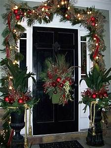 front door with garland around it