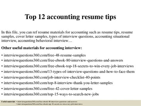 top 12 accounting resume tips