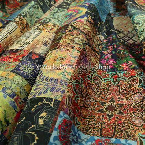 printed velvet modern printed velvet wonderland patchwork multi coloured upholstery fabric
