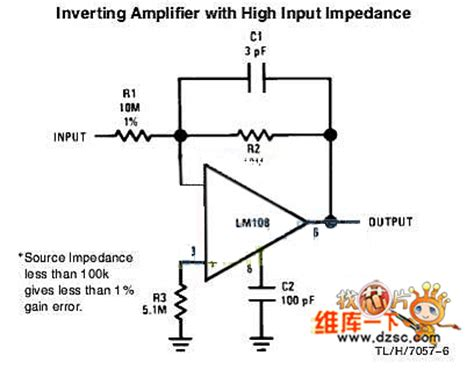 Inverting Amplifier With High Input Impedance Circuit