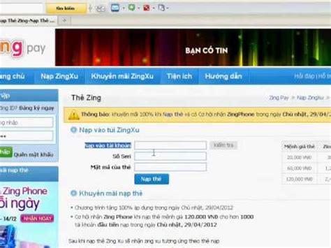 Huong Dan Nap Zing Xu Bang The Zing Youtube