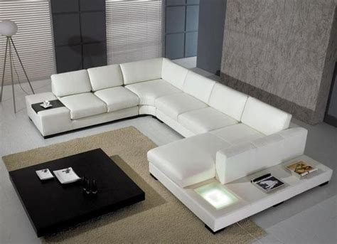 Divani Casa T35 Modern White Leather Sectional Sofa With