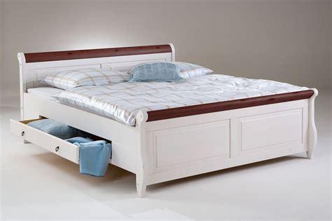 Bett Mit Schubladen 200x200 Weiß Kolonial Holzbett Kiefer