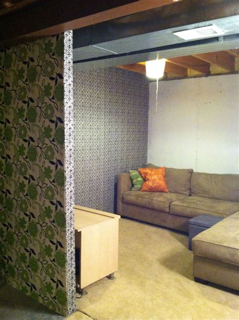 Unfinished Basement Redo With Fabric And Staple Gun Easy