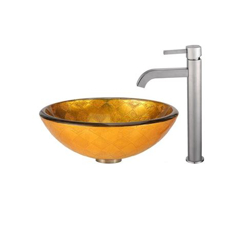 home depot kraus sink kraus orion glass vessel sink in gold with ramus faucet in