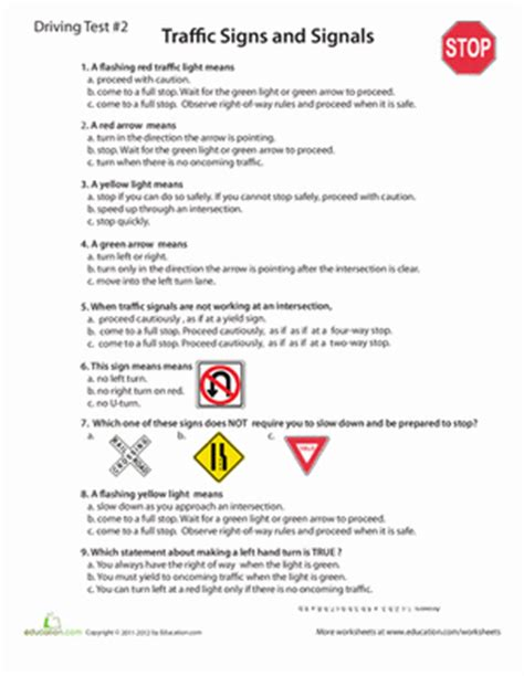 of the road practice test 1 worksheet education