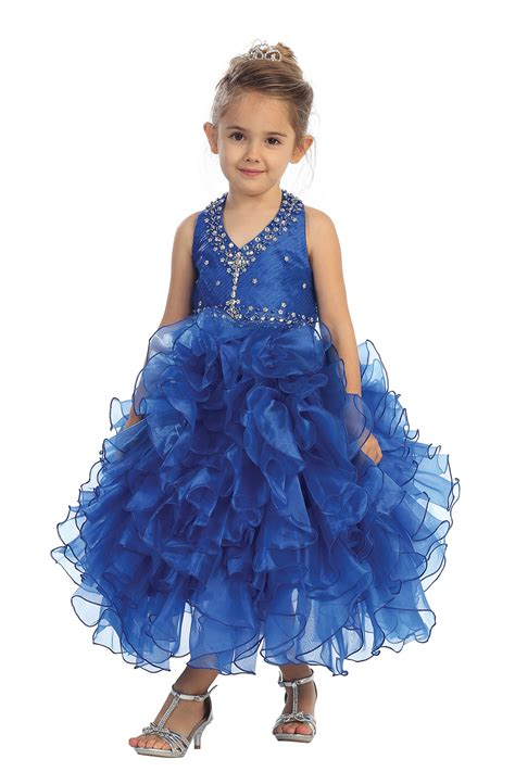 royal blue gorgeous halter pageant and princess gown