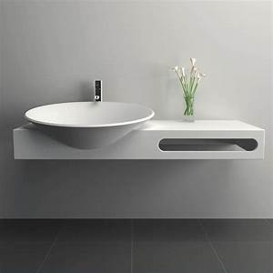 Meuble salle de bain suspendu 100x54 cm, matière composite, Mineral