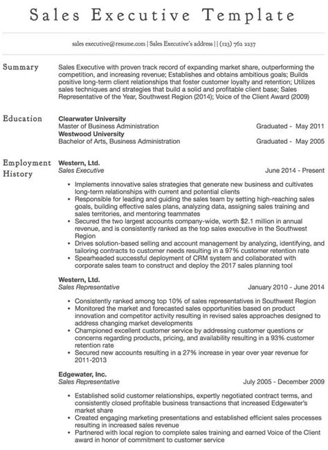 Sales Executive Resumes by Resume Sles 125 Free Exle Resumes Formats