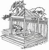Gazebo Tub Plans Diy Backyard Gazebos Spa Drawings Pergola Drawing Building Cedar Western Build Plan Sketch Projects Pavilion Decks Raised sketch template