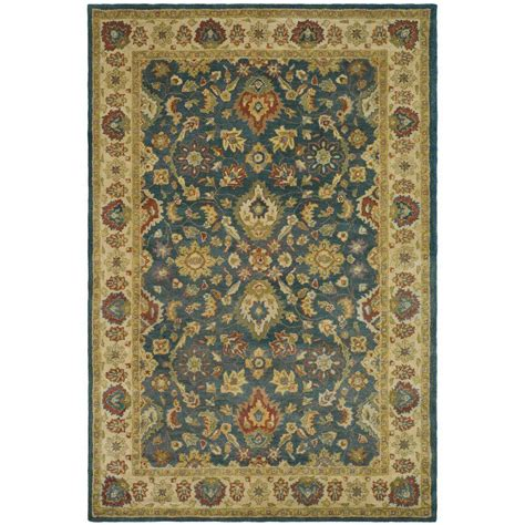5 8 Area Rugs by Safavieh Antiquity Blue Beige 5 Ft X 8 Ft Area Rug At15a