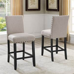 Roundhill, Furniture, Biony, Fabric, Nail, Head, Counter, Height, Stools, Tan