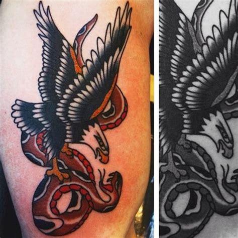 american traditional bald eagle  snake americana imagery ryan cooper thompson tattoos