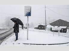 Imágenes de la nevada Un hombre espera al autobús en el