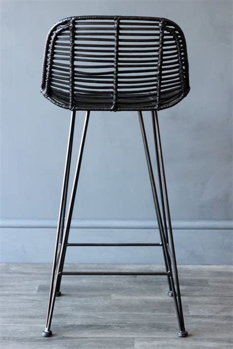 Black Rattan Bar Stool   View All   Furniture