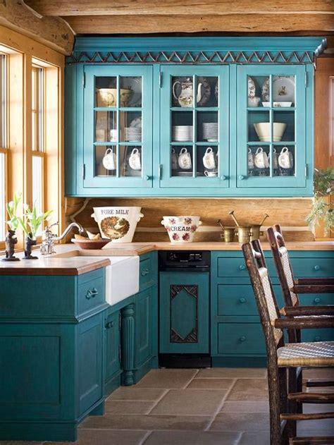 dark teal cabinets rustic  kitchen pinteres