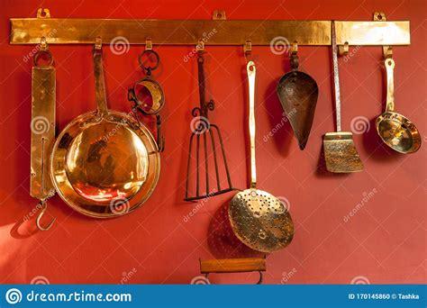 antique copper kitchen utensils stock photo image