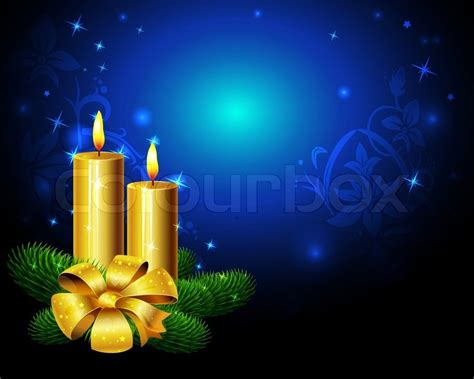 blue christmas background  golden candle stock vector colourbox