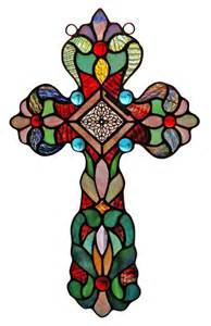 Cross Design Stained Glass Window Panel Handcrafted New