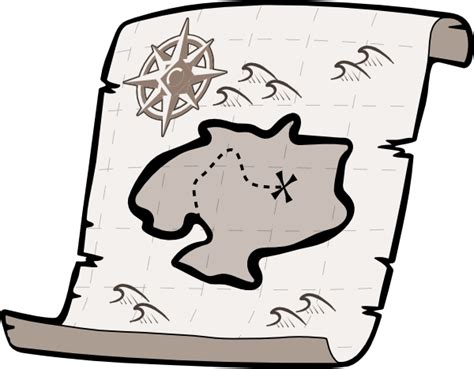 Treasure Map Clip Art Black and White