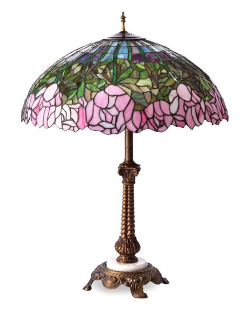 slag glass l shade table lamp with leaded slag glass shade