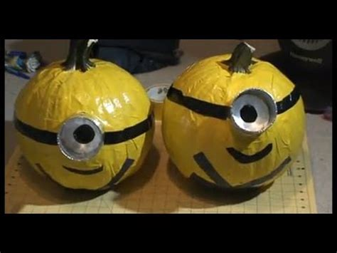 how to make a minion pumpkin how to despicable me minion duct tape pumpkin no carve youtube autumn pinterest