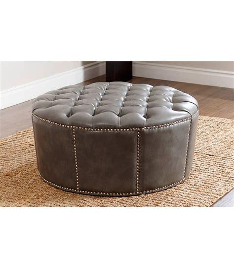 newport fabric nailhead trim round ottoman abbyson living ottomans benches newport leather ottoman grey