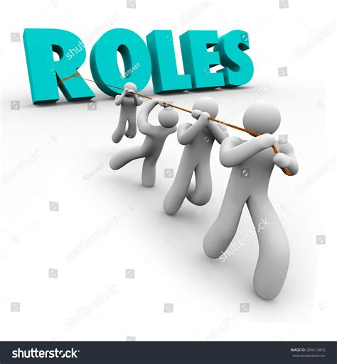 Roles Word Pulled By A Team Of People, Workers Or Players Working Together To Accomplish A Goal