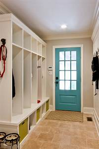 Splashy cubbies in Hall Traditional with Mudroom Locker