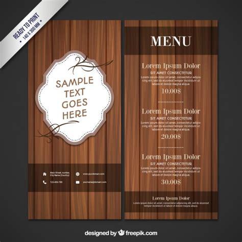 wooden restaurant menu vector