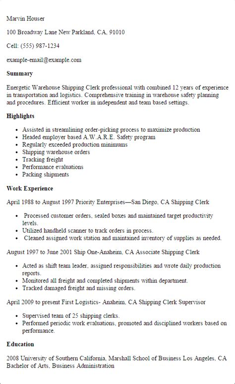professional warehouse shipping clerk resume exle