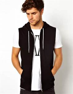 Asos Sleeveless Zip Up Hoodie in Black for Men | Lyst