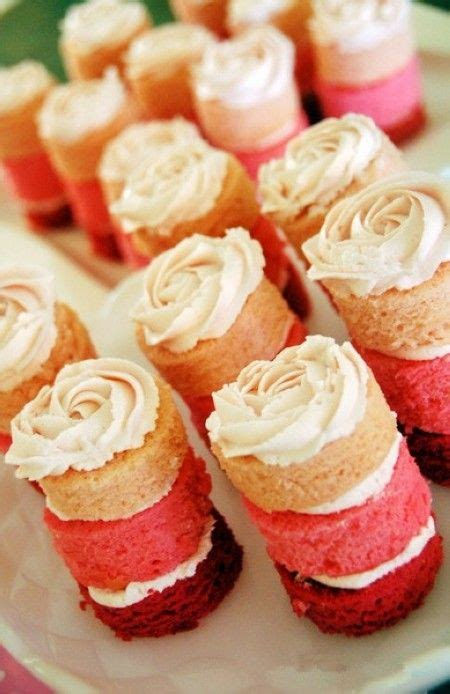 food suggestions for cing pink ombre mini cakes with rosette frosting homemade girl 1st birthdays and cakes