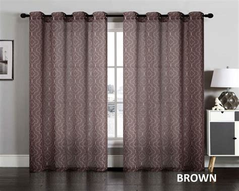 Lattice Sheer Curtain Grommet Window Panel Treatment Drape (set Of 2 Gray And Yellow Curtains 108 Inches Round Shower Curtain Rail Nz Air Supplier Chennai Sewing Lined With Grommets Purple Black Uk How Far In To Install Curved Rod Werna Blackout Window Treatments Definition