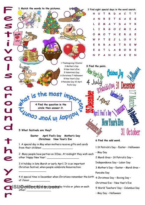 festivals   year vocabulary exercises