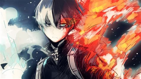 shoto todoroki fire  hero academia   wallpaper