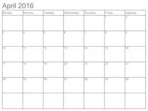 Free Printable Monthly Calendar April 2016