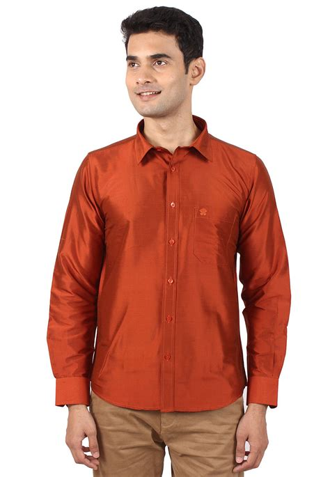 solid color shirts solid color silk shirt in rust mxt29