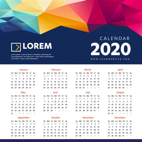 wall calendar colorful template vector premium