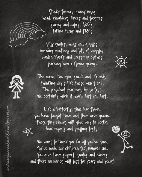poem for preschool teacher ordinary miracles of preschool gift 880