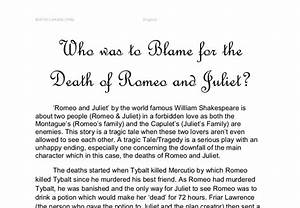 friar lawrence killed romeo and juliet essay