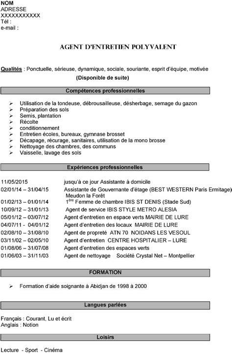 Rediger Un Cv by Exemple Cv Dentretien Polyvalent